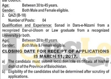 High Court Balochistan Jobs 2017 For Additional District & Session Judge Latest
