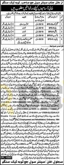 Civil Court Toba Tek Singh Jobs 2017 Latest February Advertisement