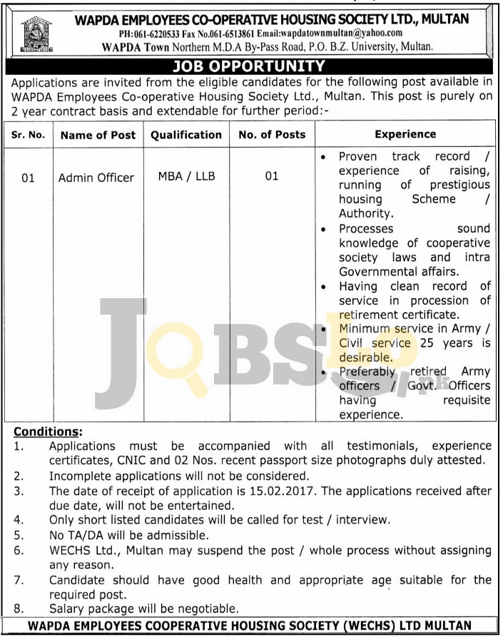 Wapda Employees Cooperative Housing Society Multan Jobs 2017 Career Offers