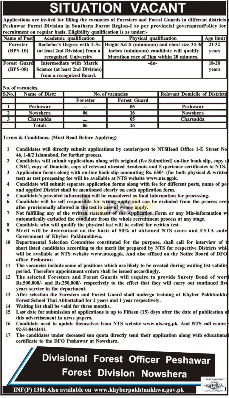 Forest Department KPK Jobs 2017 DFO Peshawar NTS Form Download