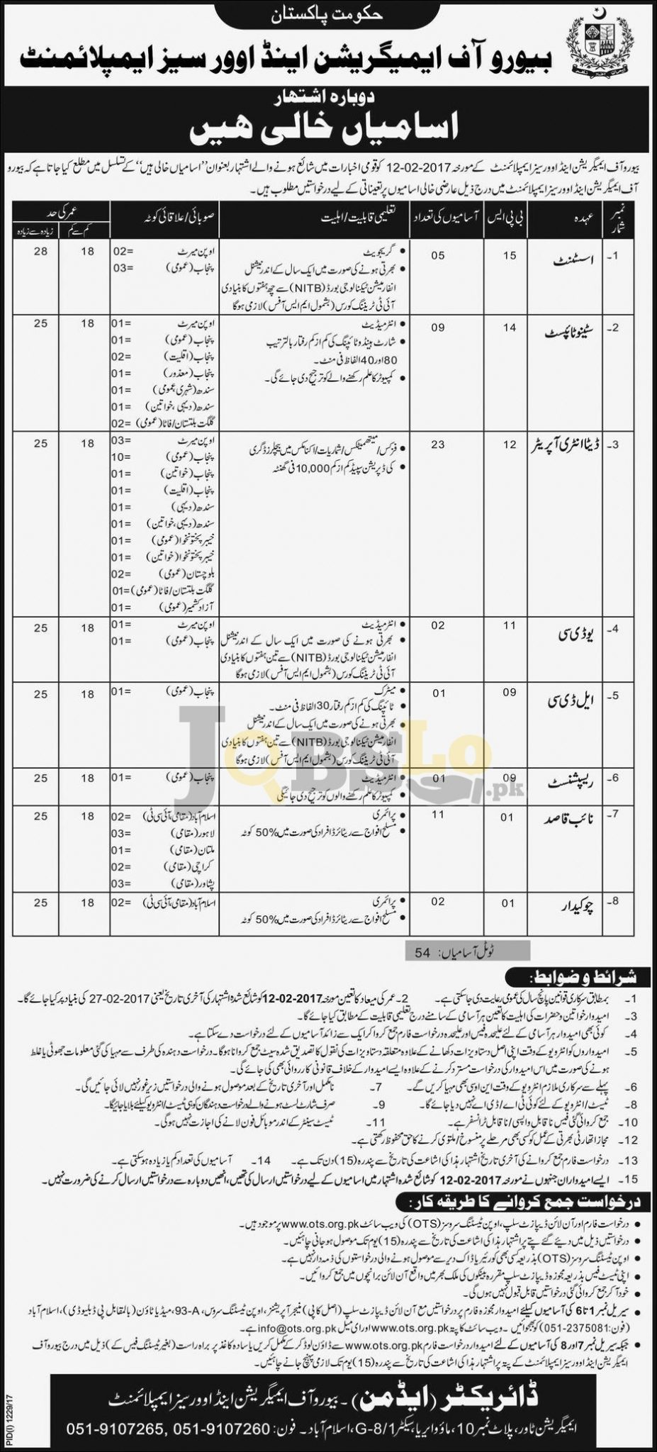 BEOE Jobs 2017 Bureau of Emigration & Overseas Employment OTS Form