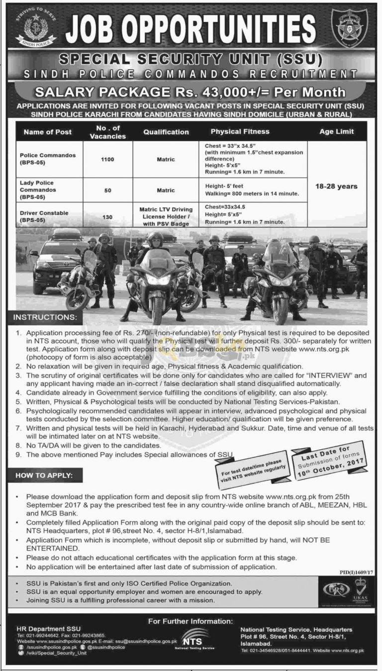 Special Security Unit (SSU) Sindh Jobs 2017 Police Commandos & Driver Constable | nts.org.pk