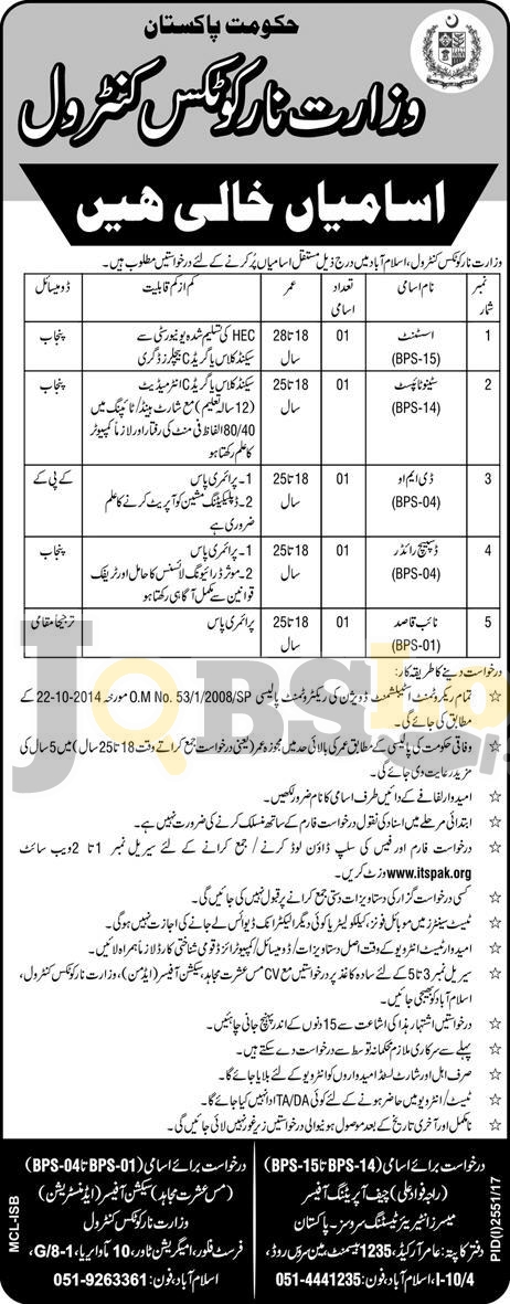 Ministry of Narcotics Control Islamabad Jobs 2017 Latest Career Opportunities