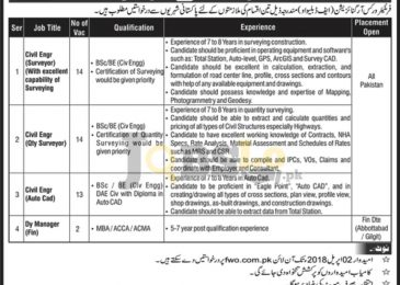 FWO Jobs 2018 Apply Online for Civil Engineer | fwo.com.pk