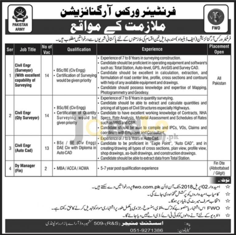 FWO Jobs 2018 Apply Online for Civil Engineer | fwo.com.pk