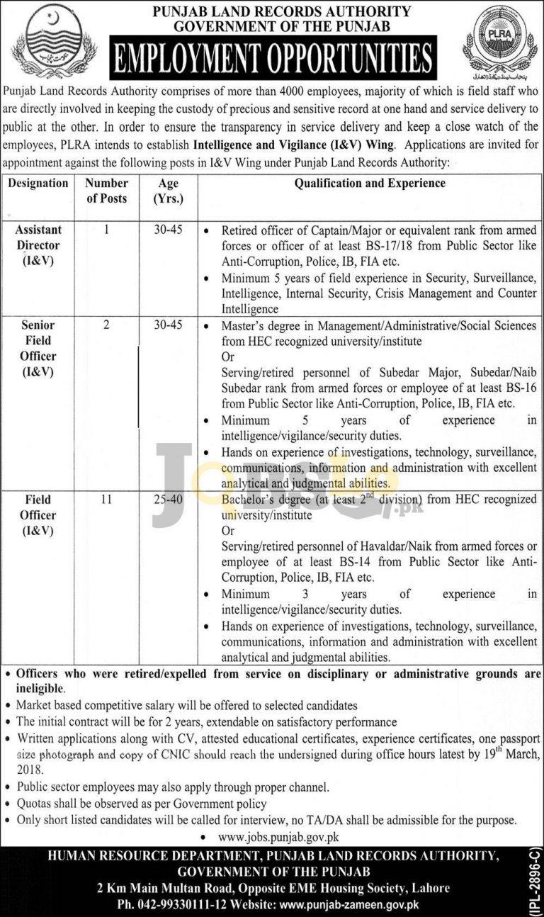 PLRA Jobs in Punjab Land Records Authority 2018
