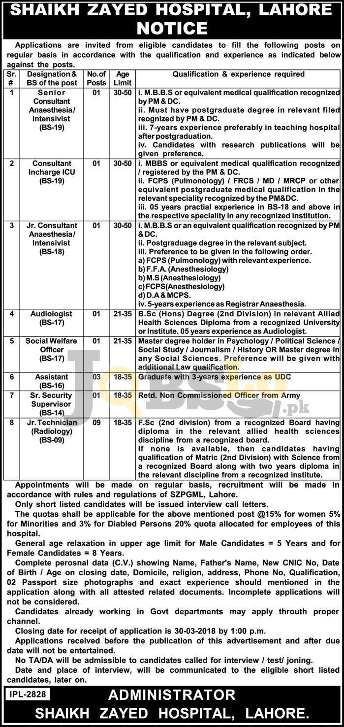 Jobs in Sheikh Zayed Hospital Lahore 2018 Male & Female Staff
