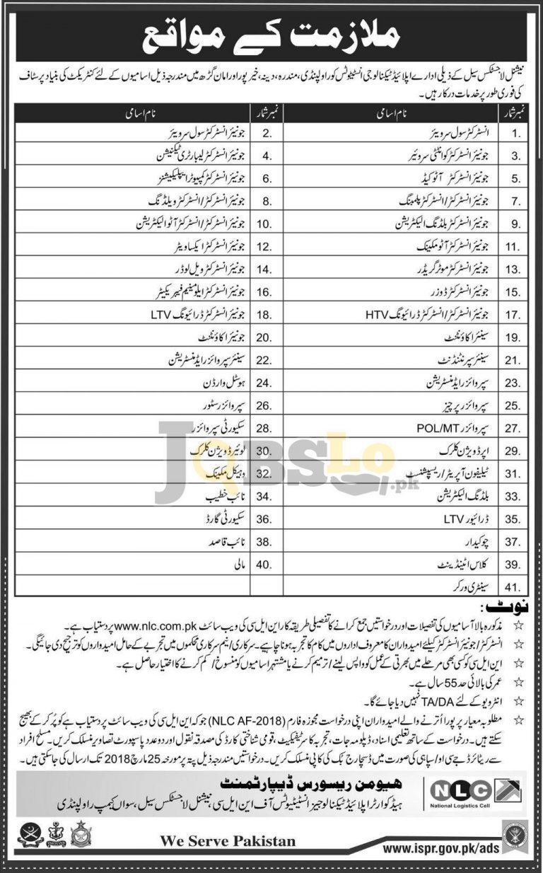 www.nlc.com.pk Jobs Application Form Download 2018 – National Logistics Cell