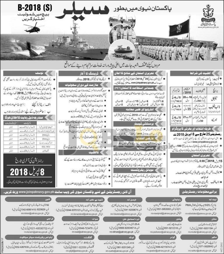 Pak Navy Sailor Jobs B-2018 (S) Online Registration joinpaknavy.gov.pk