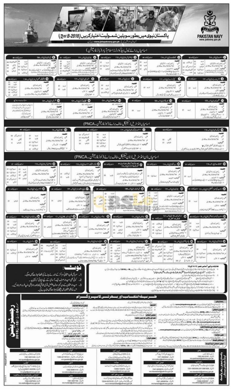 Join Pak Navy Civilian Online Registration Batch B-2018 – www.joinpaknavy.gov.pk