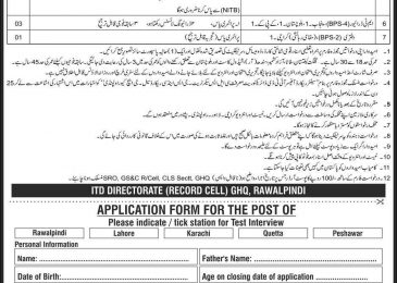 GHQ Civilian Jobs 2018 Application Form Download