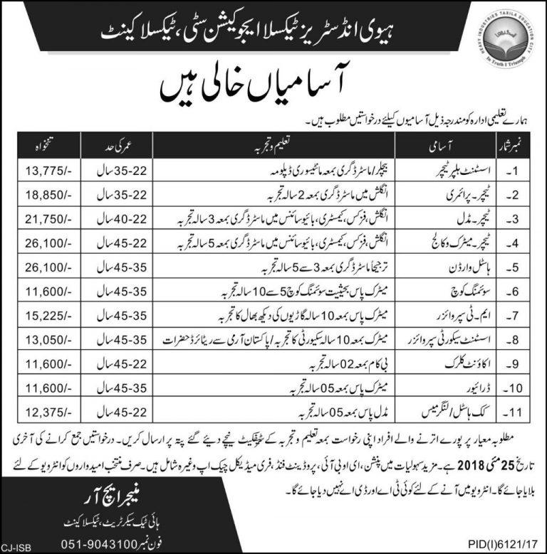 HITEC Jobs 2018 Heavy Industries Taxila Education City Latest Advertisement