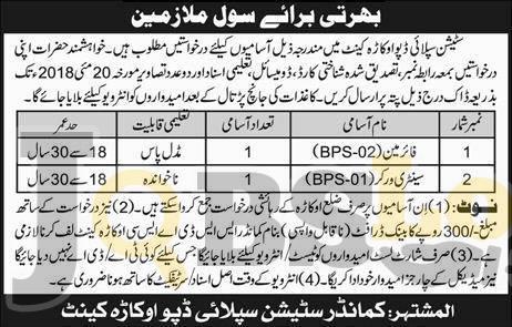 Station Supply Depot Okara Jobs 2018 Pak Army Under Matric Civilian Vacancies