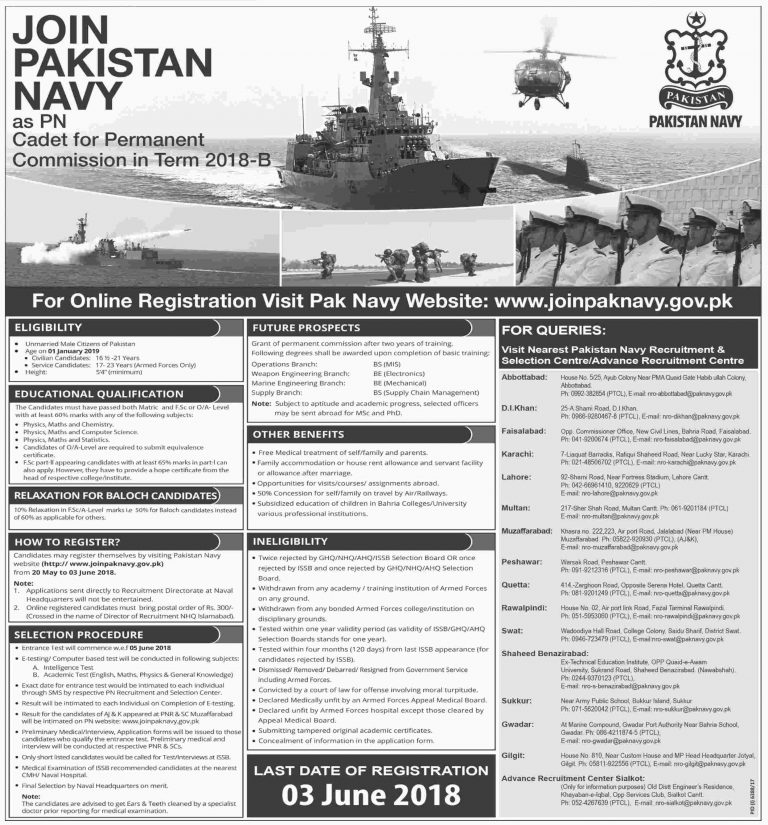 Join Pak Navy as PN Cadet 2018 B Permanent Commission