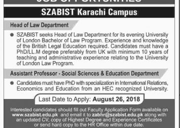 SZABIST KarachiJobs 2018 Application Form for Assistant Professor