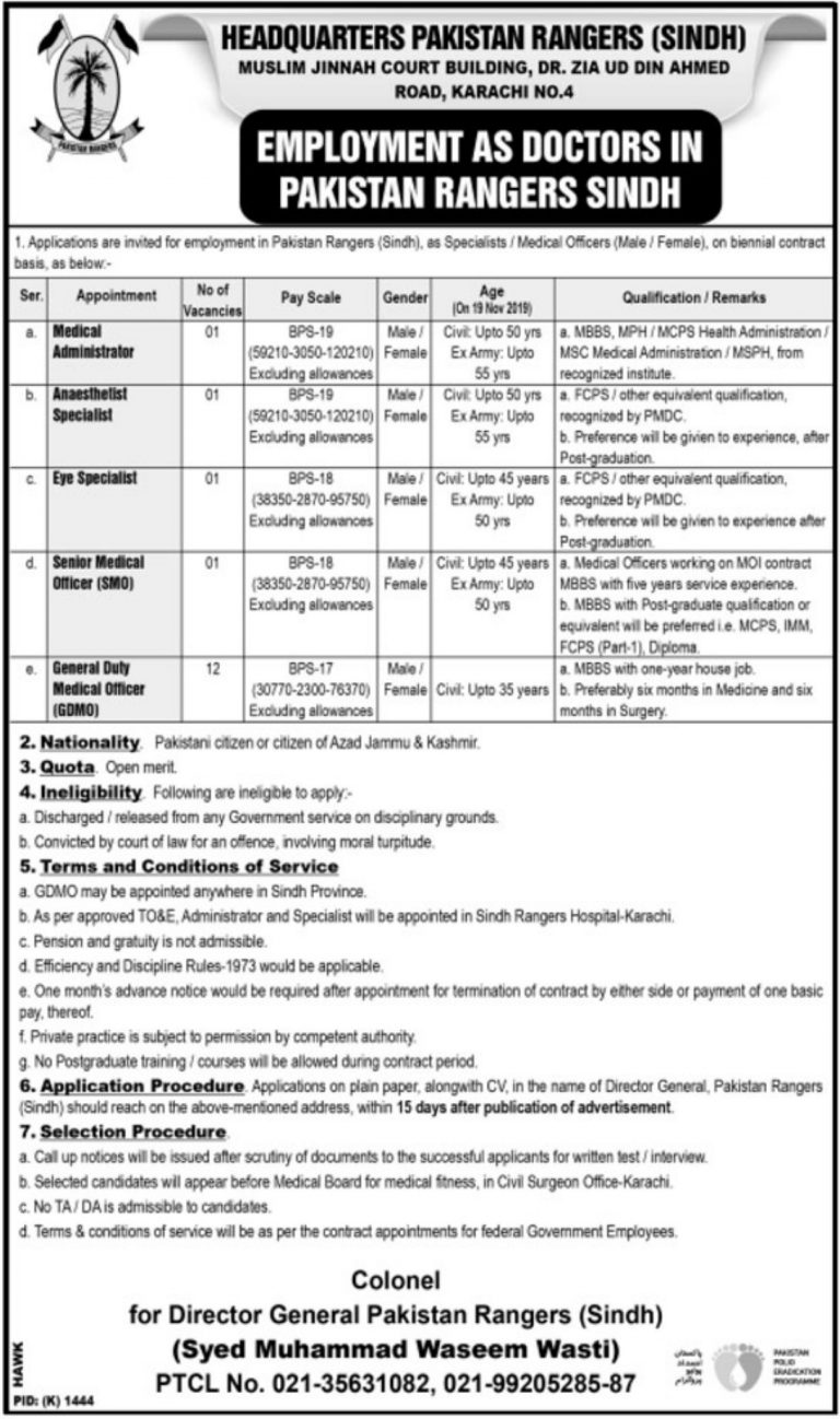 Pakistan Rangers Sindh Jobs 2019 For Medical Staff Apply Last Date