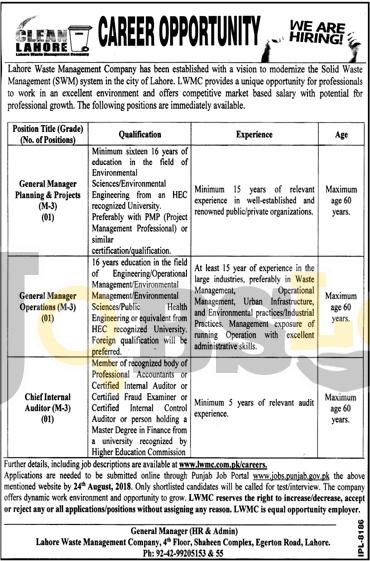 LWMC Jobs 2018 Apply Online Latest Vacancies | www.jobs.punjab.gov.pk