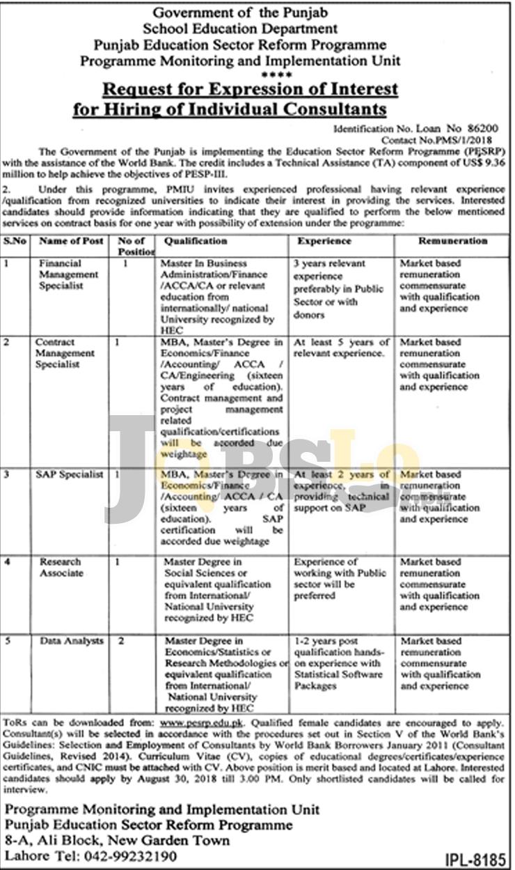 School Education Department Punjab Jobs 2018 August Latest Vacancies