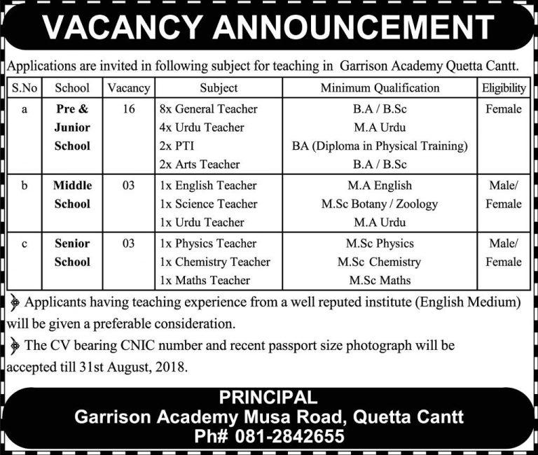 Garrison Academy Quetta Cantt Jobs 2018 Teaching Staff Latest Vacancies