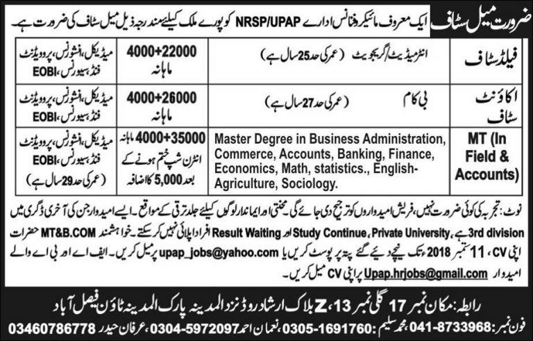 NRSP Microfinance Bank Jobs 2018 August Latest Advertisement