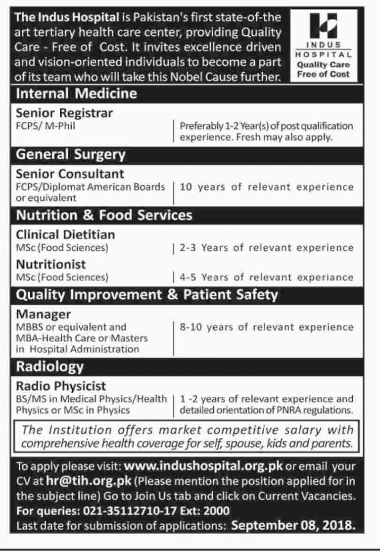 Indus Hospital Jobs 2018 Karachi Apply Online For Senior Registrar