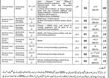 District and Session Court Narowal Jobs 2018 August Advertisement Latest