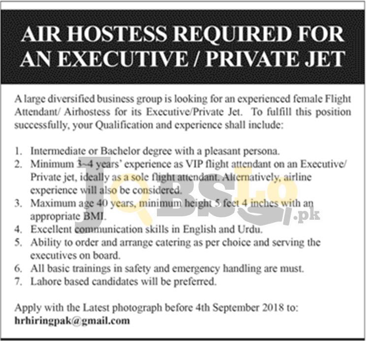 Air Hostess Jobs in Lahore 2018 Female Flight Attendant Apply Online