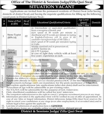 District and Session Court Swat Jobs August 2018 Latest