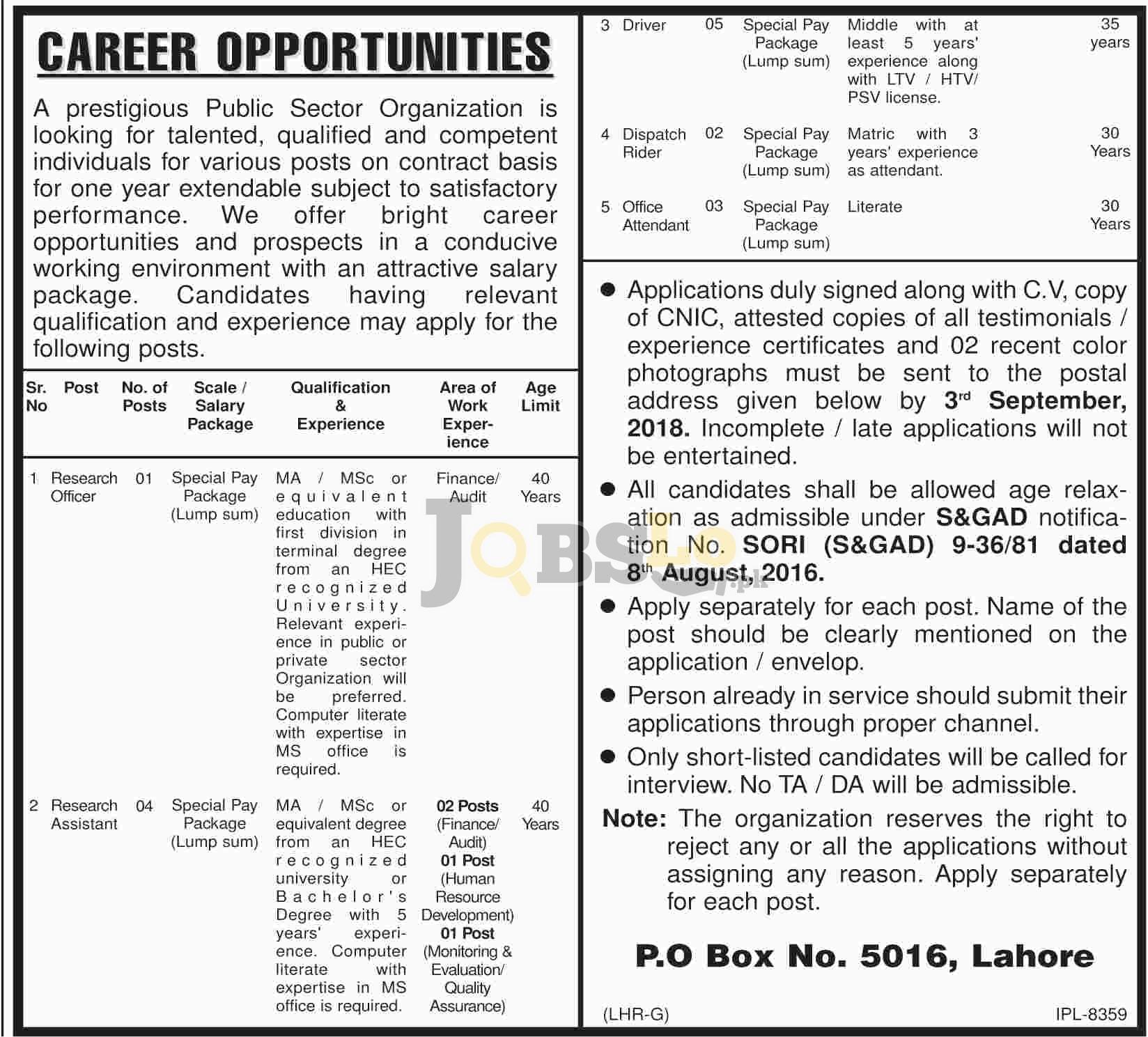 PO Box 5016 Lahore Jobs 18 August 2018 Prestigious Public Sector Organization