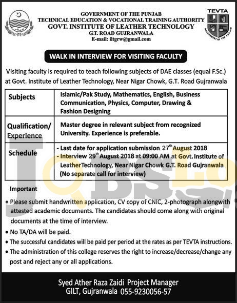 Tevta Jobs 2018 in Punjab for Visiting Faculty Walk In Interview Schedule