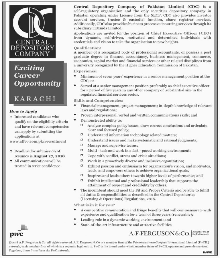 Central Depository Company Jobs 2018 in Karachi Latest