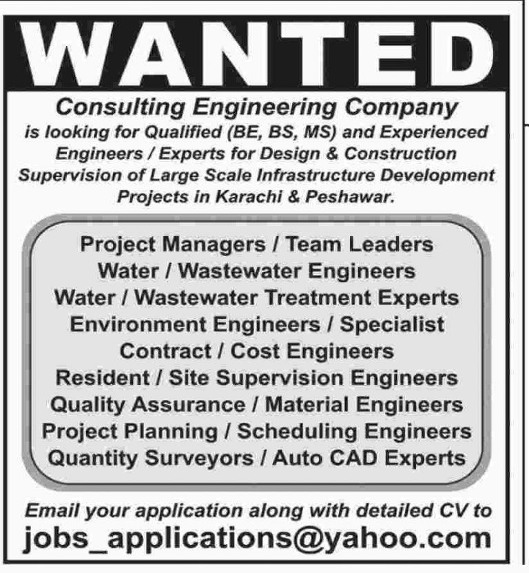 Consulting Engineering Company Jobs 2018 Latest in Karachi & Peshawar