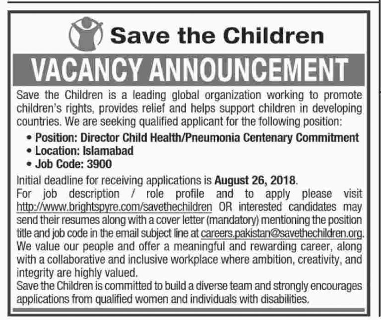 Save the Children Jobs 2018 for Director Child Health/Pneumonia Centenary Commitment