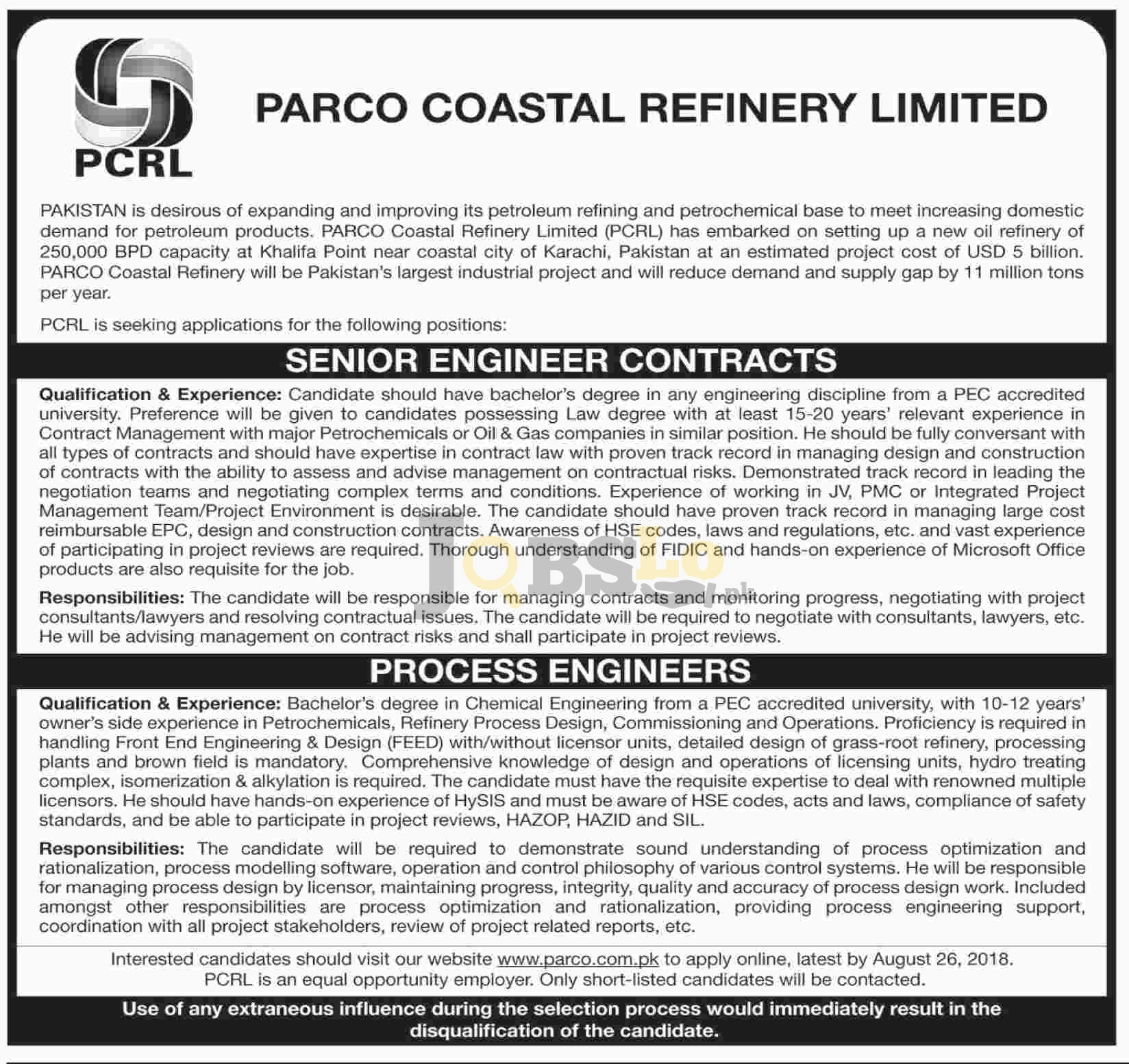 Parco Trainee Engineer Jobs 2018 Apply Online Latest Vacancies