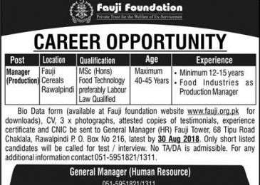 Fauji Cereals Jobs 2018 Rawalpindi for Production Manager Latest