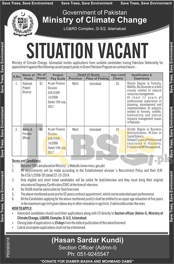 Ministry of Climate Change Jobs 2018 MOCC Islamabad Latest Vacancies