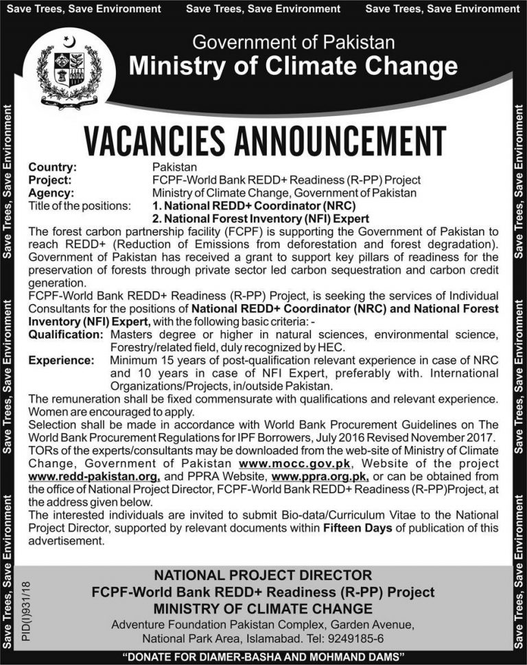 Ministry of Climate Change Pakistan Jobs August 2018 Latest Advertisement