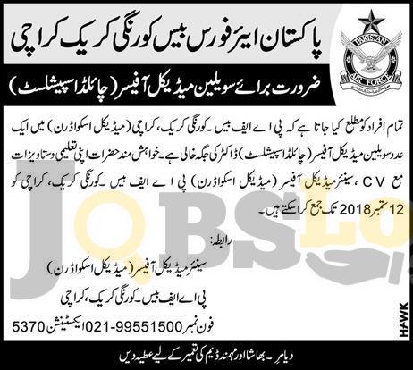 PAF Base Korangi Creek Jobs 2018 Karachi For Child Specialist