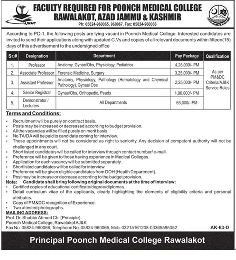 Poonch Medical College AJK Jobs 2018 Rawalakot For Faculty Required