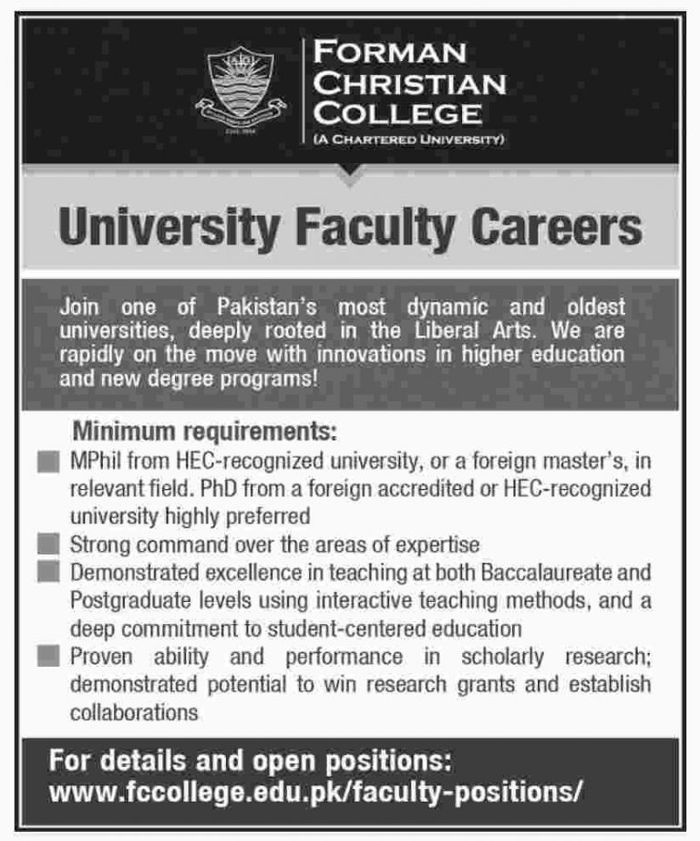 FC College Lahore Jobs 2018 Faculty Required