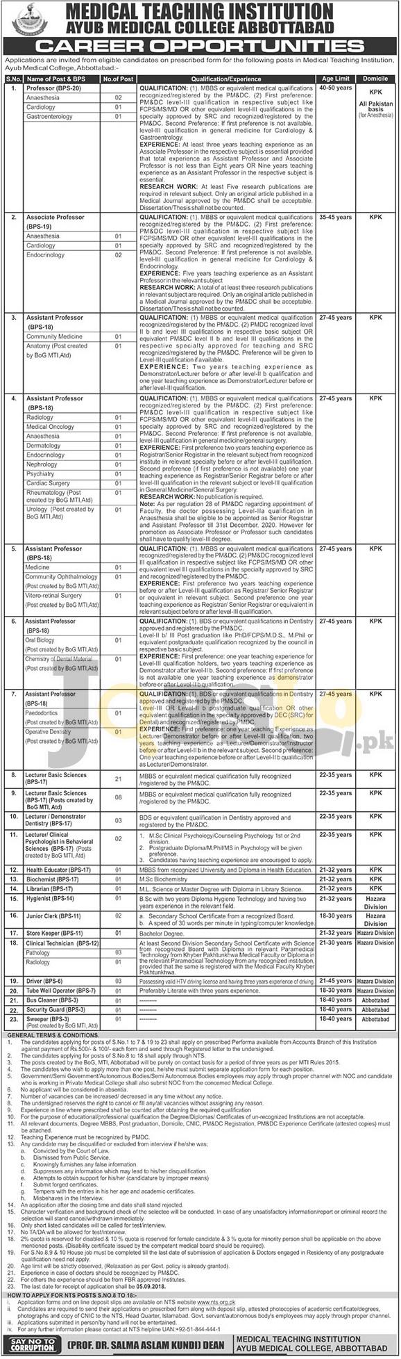 Ayub Teaching Hospital jobs 2018 ATH Abbottabad For Faculty Staff