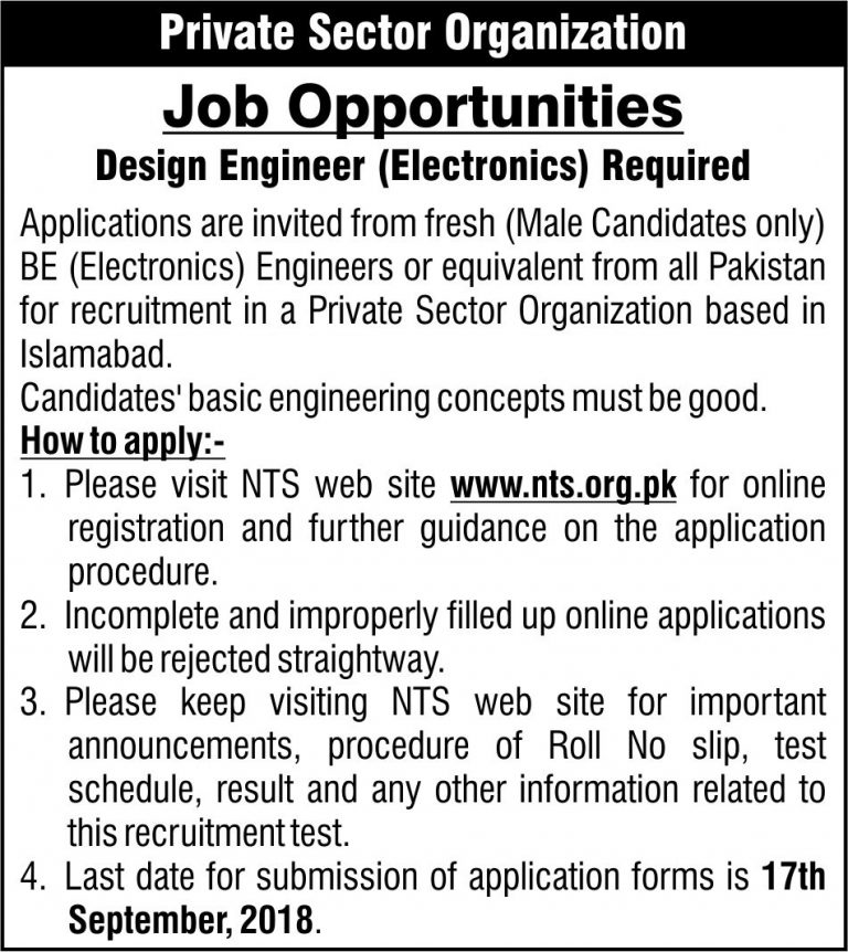 Job in Private Sector Organization 2018 Apply Online For Design Engineer (Electronics)