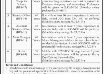 Pakistan Scouts Cadet College Batrasi Jobs August 2018 Latest