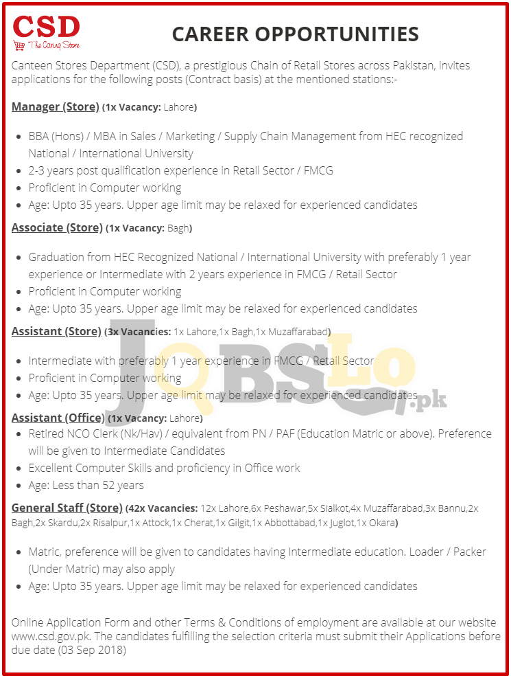 CSD Jobs 2018 Lahore Apply online | Canteen Stores Department