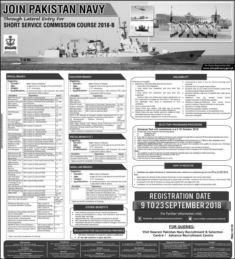 Join Pak Navy as Short Service Commission Course SSC Sep 2018-B For Multiple Branches