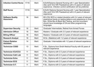 NICVD Hospital Karachi Jobs 2018 Latest For Supervisors & Technicians