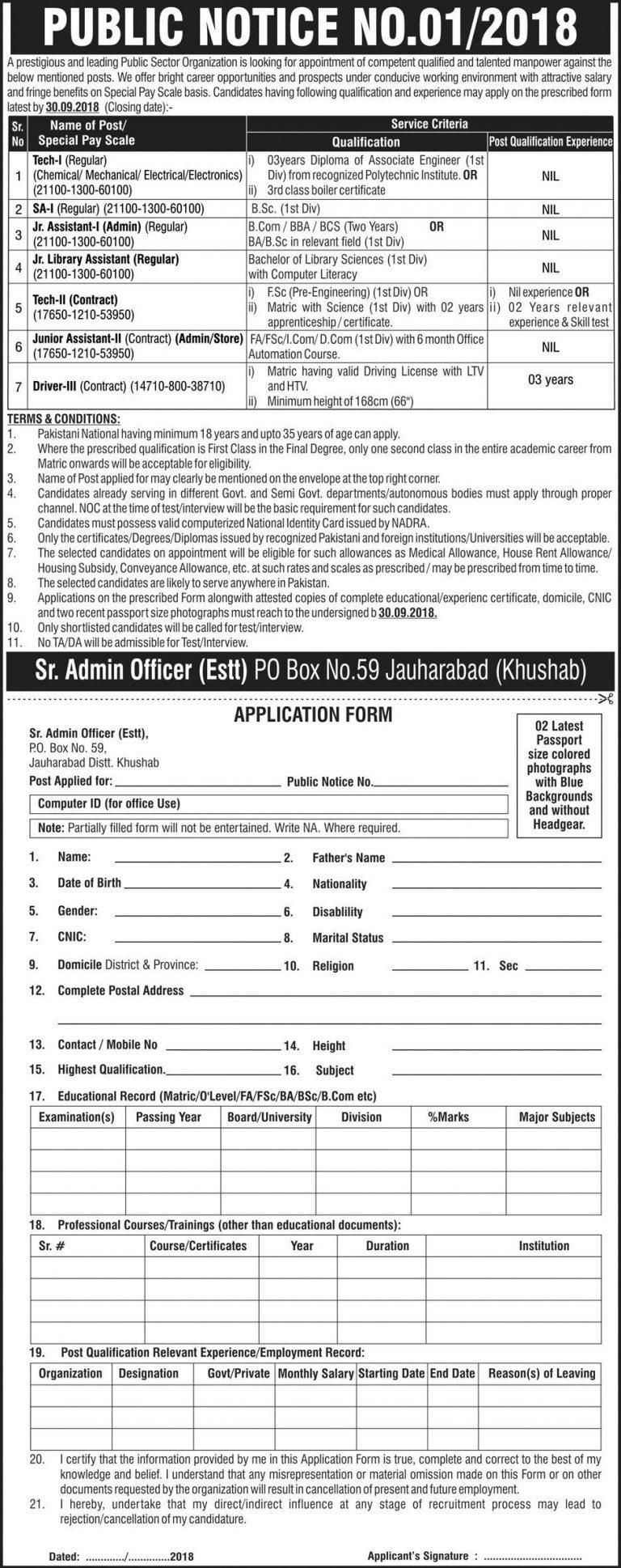 PO Box 59 Jauharabad jobs Sep 2018 Application Form Download Latest