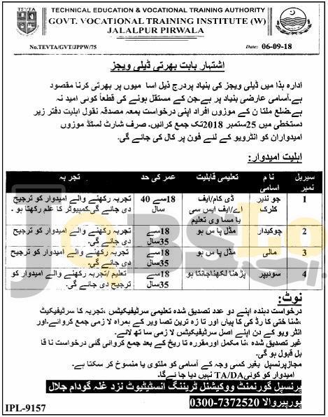 Jobs in Govt Vocational Training Institute Jalalpur TEVTA Sep 2018 For Junior Clerk