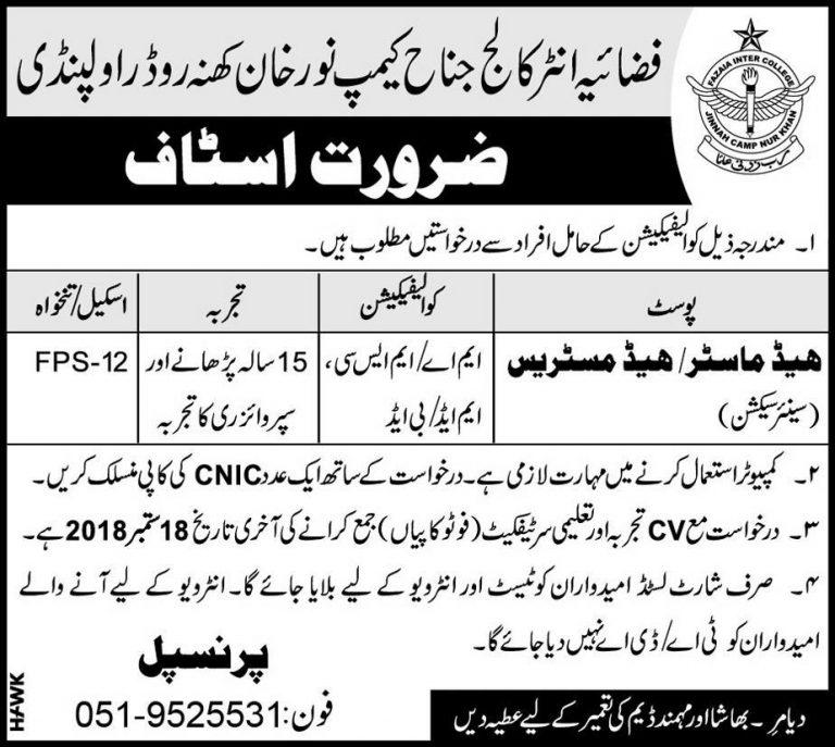 Fazaia Inter College Rawalpindi Jobs September 2018 For Principal