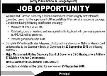 Garrison Academy Kharian Cantt Jobs 2018 APS For Principal Latest
